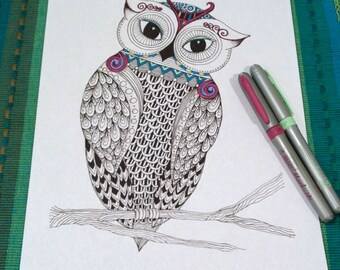 Adult Coloring Page Owl Zentangle Doodle Design Printable Instant Download Kids Animal Activity