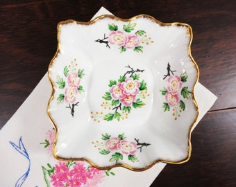 Vintage Rosina Pink Floral Bone China Square Dish - Wavy Rim, Wedding Tea Party Favor