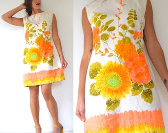 Vintage 60s 70s Dayglo Floral Screen Print Polished Cotton Shift Dress (size large, xl)