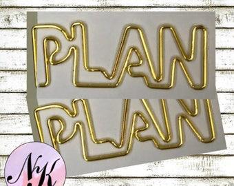Plan Paper Clips,use with Erin Condren Planner(TM), Happy Planner, planner, Travelers Notebook, Carpe Diem, Filofax, Gold Metal Paper Clip