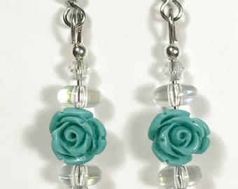 Turquoise Blue Colored Rose Beaded Earrings