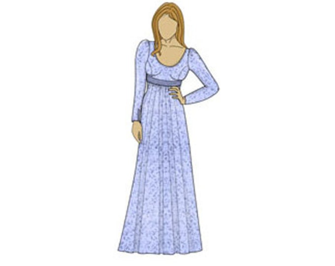 Regency Style Dress/Costume Sewing Pattern - Sizes 8-22 UK - Download PDF