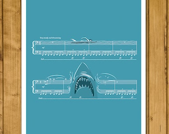 Main Theme from Jaws by John Williams - Movie Classics Poster - Soundtrack Print - Sheet Music Art - Shark Gift (Various Sizes)