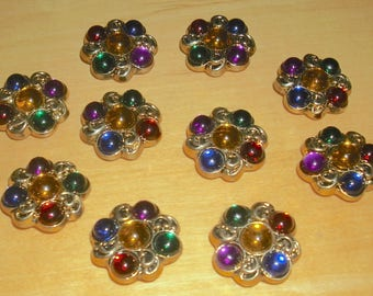 10 bejeweled button covers with cabochons