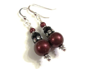 Red Swarovski Pearl Earrings, Red Earrings, Red Pearl Earrings, Black Earrings, Black Crystal Earrings, Sterling Silver, Red Dangle Earrings
