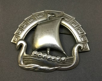 Large 1940's Art Deco Sterling Viking Ship Brooch