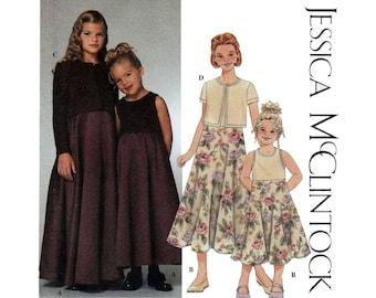 Girl's Long Dress and Cardigan Sewing Pattern Size 7, 8, 10, 12, 14 Jessica McClintock Uncut Simplicity 9018