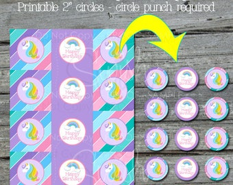 """Unicorn Cupcake Toppers   Unicorn Party Supplies   Digital Unicorn Party Decor   Rainbow Unicorn   Digital download   2"""" party circles"""