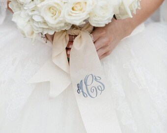 "custom monogrammed bouquet ribbon (3"" wide grosgrain), bridal bouquet, bridesmaid bouquet"