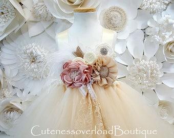 Ivory/Beige Tutu Dress-Ivory/Beige Flower Girl Tutu-Ivory/Beige Tutu Dress-Ivory/Beige Wedding Dress.Ivory/Beige Tutu
