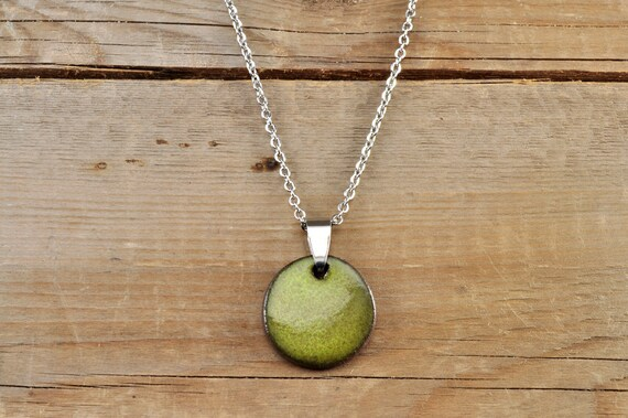 MEDIUM glossy khaki round stoneware pendant