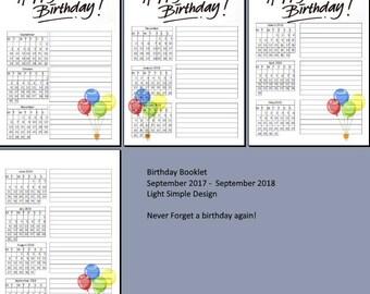 Birthday List. A5 Printable. Digital Download. Simple Design. Bujo. Bullet Journal