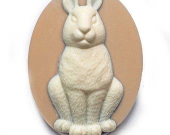 Cameo cabochon rabbit animal 30x40mm alice pink