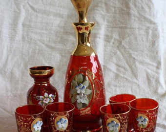 Vintage Venetian Decanter Set
