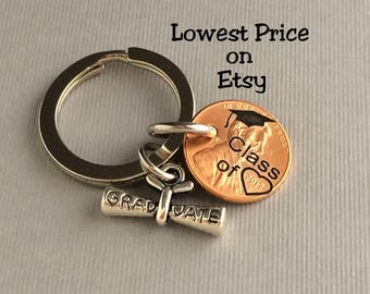 2018 Keychain - Graduation Gift - Class of - Gift for Her - Stamped Penny - Son Gift For - Graduate - Gift for Him - Graduation Gift