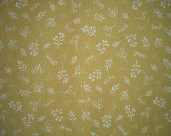 Patchwork fabric, Lecien, small patterns ecru, yellow mustard, 100% cotton, REF ST6800/792