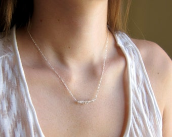 Herkimer Diamond Necklace - 14k Gold or Sterling Silver - Bead Bar Necklace - Delicate Necklace - Small Diamonds - April Birthstone - Thin