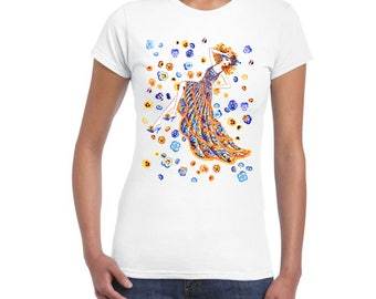 Ladies T-Shirt with a Beautiful DTG Printed Art Design