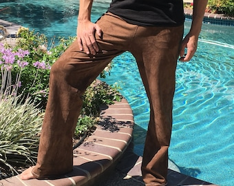 Men's Brown Hand Dyed Yoga Lounge Activewear Tie Dye Pants with Side Pockets Big and Tall Sizes Available