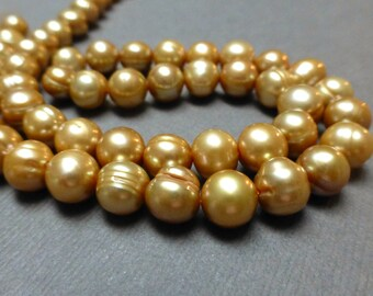 Cultured Freshwater Pearls. Semi-Round Pearls. FWP. Champagne. 8mm. Full 15 Inch Strand.
