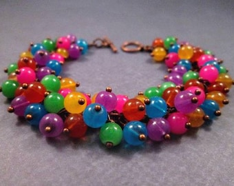 Copper Cha Cha Bracelet, Rainbow Glass Beaded Bracelet, Wire Wrapped Charm Bracelet, FREE Shipping U.S.