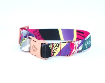 Dog collar- LOLLIPOP / TWIST / sweet / geometry / rose gold / pink gold hardware