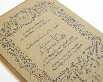 Story Book Wedding Invitation Rustic Eco SAMPLE