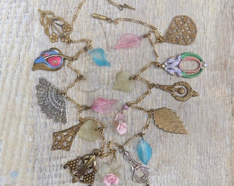 Pididdly Links Charm Necklace Glass Leaves Brass Charms