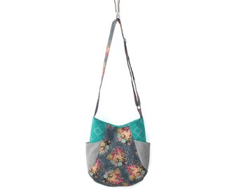 Gift for Mom, Hobo Bag Purse, Boho Purse, Boho Crossbody Hobo Bag, Teen Purse, Floral Handbag, Vegn Purse