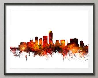 Indianapolis Skyline, Indianapolis Indiana Cityscape Art Print (1084)