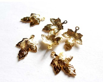 6 Gold Plated Leaf Charms - 21-47-8