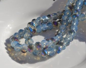 Cornflower Blue Opal AB 8x6mm Faceted Crystal Beads   20