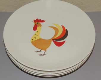 4 HOWARD HOLT Rooster Motif Luncheon Plates