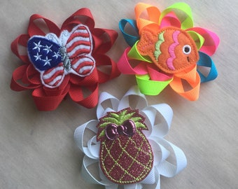 Fun summer ribbon flower hair clips for toddlers girls hair bows boutique hair bows