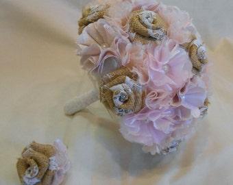 Pink Wedding Bouquet, Blush Bridal Bouquet, Fabric Bouquet, Vintage Bouquet, Burlap Bouquet, Burlap and Lace Bouquet