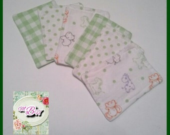 Reusable wipes, baby wipes, personal wipes, flannel wipes, family cloth, soft, high quality, topstitched, double, neutral, made on order