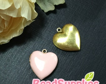 CH-EX-08055PP - Nickel Free, Heart-shaped locket, pale pink, 2pcs
