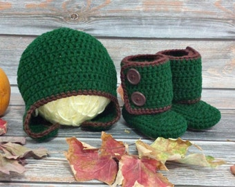 Baby Boy Boots and Hat - Newborn Baby Boots - Baby Ankle Boots - Crochet Newborn Booties - Suede Baby Boots - Woodland Boots - Infant Boots