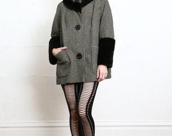 Vintage Faux Fur Wool Coat