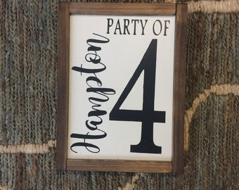 LAST NAME Party Of NUMBER Sign; Farmhouse Family Number Sign; Gallery Wall Decor