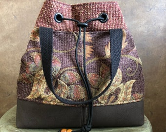 UPCYCLED HANDBAG - Whimsical Floral Bag - Medium Purse - Repurposed Fabrics - Warm Medium Tones - Chocolate Brown - Eco Friendly