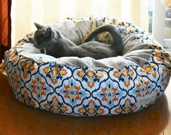 Luxury Cat Bed and Pet Bed Furniture, Floral Pouf Bed, Large and Small Dog Bed with Removable Cover, Washable Cat Bed Pet Funiture