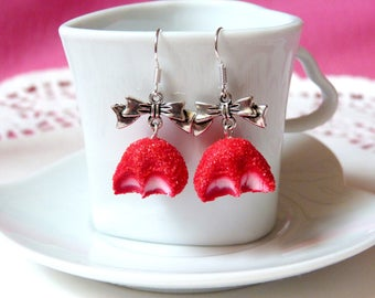 Strawberry candy chewed and bow earrings