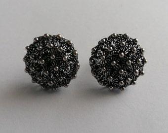 Large Stud Earrings - Charro Earrings Roseton - Silver Stud Earrings - Stud Earrings, Sterling Silver Earrings, Charro Earrings, Gift Idea