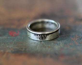 Handmade Silver Maine State Coin Ring, Custom Sizing 4-13