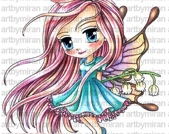 Digital Stamp - Fairy Lily(#148),  Digi Stamp, Coloring page, Printable Line art for Card and Craft Supply