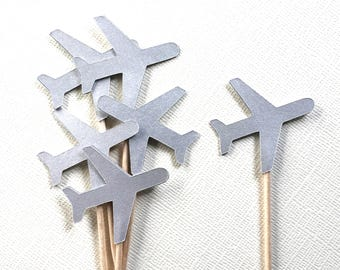 Airplane Cupcake Toppers, Silver Shimmer, Transportation, Party Decor, Baby Showers, Birthdays, Double-Sided, Travel Theme, Set of 15