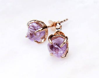 Rose Gold Amethyst Stud Earrings. February Birthstone Earrings. Raw Amethyst Earrings. Amethyst Stud Earrings. Amethyst birthstone earrings.