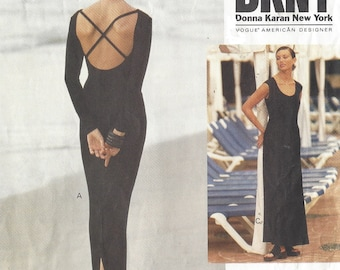 1990s DKNY Womens Stretch Knit Body Con Dresses Ankle Length Slim or Flared Skirt Vogue Sewing Pattern 1365 Size 12 14 16 Bust 34 36 38 FF