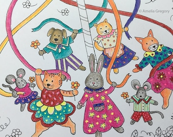 Coloring Pages for Adults, Adult Colouring Book, Maypole, Spring Gift, Animals Are Friends, Printable Wall Art, Childrens Prints, Whimsical